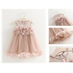 Sweet Nude Pink Petal Lace Princess Dress,  So Love it !!! #Popreal  #girldress #petal dress #lace dress #princess dress #sweet dress #flower