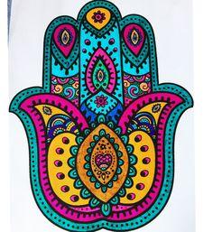 Hamsa Design, Mandala Design, Mandala Painting, Mandala Art, Hamsa Art, Arabic Art, Hand Of Fatima, Hippie Art, Jewish Art