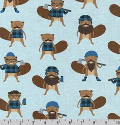 Burly Beavers Fabric, Hipster fabric, Beavers in Denim, Blue fabric, Robert Kaufman- Choose the cut. Free Shipping Available