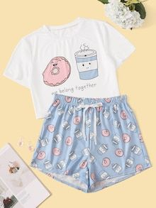 Cartoon & Letter Print Pajama Set - Pajama Sets - Ideas of Pajama Sets Cute Pyjama, Cute Pajama Sets, Cute Pjs, Pj Sets, Cute Lazy Outfits, Teenage Outfits, Teen Fashion Outfits, Girl Outfits, Cute Clothes For Girls