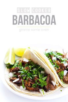 Barbacoa Beef -- tender, flavorful, and made extra easy in the slow cooker | gimmesomeoven.com #crockpot #slowcooker