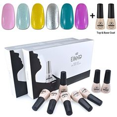 Elite99 Soak Off UV LED Gel Nail Polish 6 Colors Lacquer with Base Top Coat Manicure Pedicure Nail Art Decoration C100 * Details can be found by clicking on the image. (This is an affiliate link) #FootHandNailCare