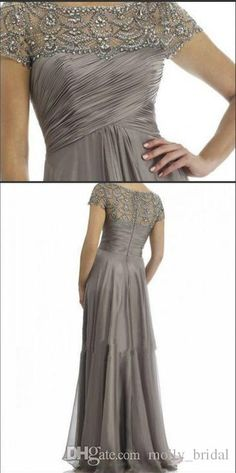 2016 Long Mother Of The Bride Dresses Grey Plus Size Short Sleeve Beaded A Line Chiffon Formal Wedding Party Dress Mum Evening Gown