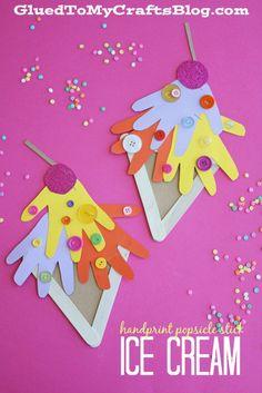 Handprint Popsicle Stick Ice Cream - Kid Craft