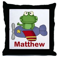 Matthew's Flying Frog Throw Pillow