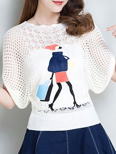 Round Neck Printed Batwing Sleeve Pullover – wanokitty pullover outfit jeans athletic pullover with jeans athletic pullover hoodie Jean Outfits, Sweater Outfits, Outfit Jeans, Little Girls Coats, Bat Sleeve, Types Of Collars, Batwing Sleeve, Bat Wings, Comfortable Outfits