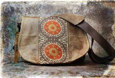 Leather Camera Bag  -  Sunburst Tapestry Medium DSLR via Etsy.