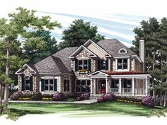 French Country House Plan with 2463 Square Feet and 4 Bedrooms(s) from Dream Home Source | House Plan Code DHSW32063