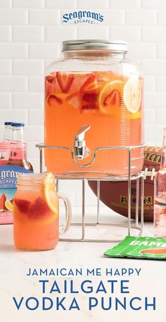 Make this Jamaican Me Happy punch with vodka and fresh fruit, and skip the beer at your next tailgate! Make this Jamaican Me Happy punch with vodka and fresh fruit, and skip the beer at your next tailgate! Batch Cocktail Recipe, Cocktail Recipes For A Crowd, Food For A Crowd, Party Drinks Alcohol, Liquor Drinks, Alcohol Drink Recipes, Beverages, Alcoholic Punch Recipes Vodka, Summer Alcoholic Punch