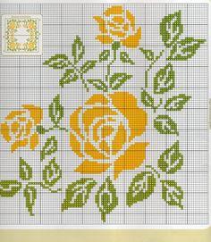 ponto-cruz-flores-cross-stitch-rosa-amarela-500x400 78 gráficos de flores em ponto cruz para imprimir