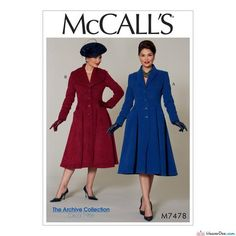McCall's - M7478 Vintage 1950s Shawl Collar Coats (Misses'/Miss Petite Fit and Flare) - WeaverDee.com Sewing & Crafts - 1