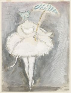 Marc Chagall. A Cat. Costume design for Scene IV of the ballet Aleko. 1942 | MoMA Marc Chagall, Illustrations, Illustration Art, Chagall Paintings, Les Fables, Cat Costumes, Ballet Costumes, French Artists, Costume Design