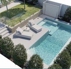 Stylish 37 Inspiring Small Backyard Pool Design Ideas For Your Relaxing Place Backyard Pool Designs, Small Pools, Swimming Pools Backyard, Small Backyard Landscaping, Swimming Pool Designs, Landscaping Ideas, Mulch Landscaping, Piscina Rectangular, Pool Colors