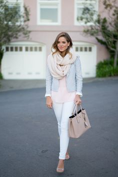 Spring outfit for the business casual office: Soft blush tones - light pink cami, black & white striped jacket, infinity scarf, neutral bag & heels