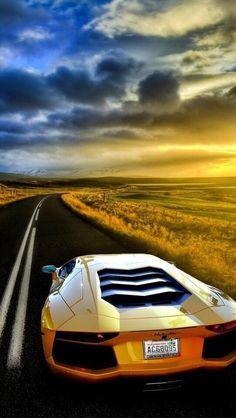 Gold aventador at gold sunset