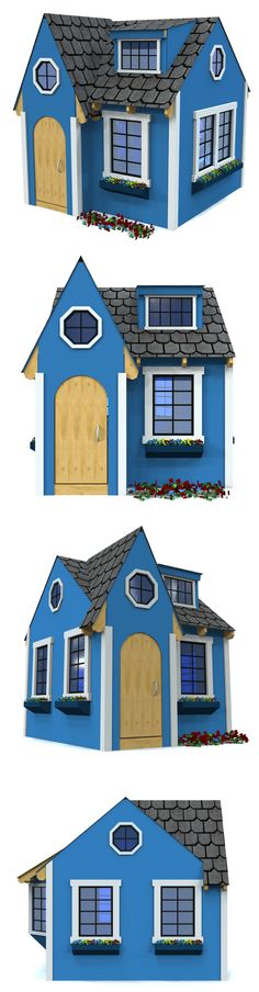 Beautiful blue playhouse you can build yourself.  All it takes is a little patience.  :-)