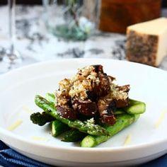 Meatless Monday featuring roasted mushroom asparagus stack