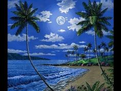 How To Paint A Moonlit Beach in Kapalua Maui Hawaii Complete Painting Le...