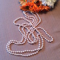 72 inch 5 1/2 MM GENUINE CULTURED rose' pearls. JUST BEAUTIFUL, Rose' pearls, 72 inches, can be worn many different ways as shown. Worth  SO, SO MUCH MORE.  DOES NOT INCLUDE BUNDLE DISCOUNT Jewelry Necklaces