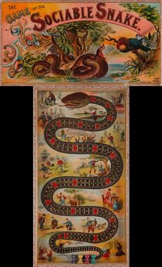 """Game of the Sociable Snake"" ~ 1890 McLoughlin Brothers Board Game"
