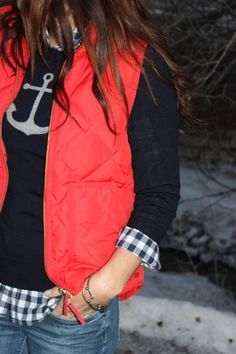 Navy anchor sweater, plaid shirt, red vest