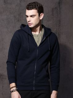 Buy Roadster Men Navy Blue Solid Hooded Sweatshirt - Sweatshirts for Men Sweatshirts Online, Hooded Sweatshirts, Winter Wear For Men, Hooded Jacket, Navy Blue, Sweaters, Jackets, How To Wear, Stuff To Buy