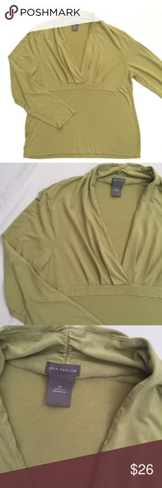 """Ann Taylor sage green v neck soft blouse This is a soft, comfortable and beautiful v neck blouse. Gathered neckline and flattering fit.  Measurements laying flat:  * Bust 21"""" * Length 23"""" * Arm 21""""  Condition/Flaws * Gently used, but still in excellent condition * No significant flaws (stains, rips, pilling)  Item # * RS11.25.31217 Ann Taylor Tops"""