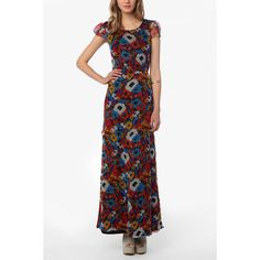 Knt By Kova & T Chiffon Floral Maxi Dress found on Polyvore