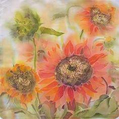 """""""Sunflowers"""" - silk painting Painting Flowers, Fabric Painting, Fabric Art, Fabric Crafts, Shibori Fabric, Diy Ideas, Craft Ideas, Sun Flowers, Silk Art"""