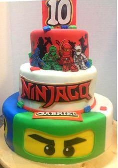 Ninja go Lego cake Lego Ninjago, Ninjago Party, Lego Movie Cake, Lego Cake, Festa Ninja Go, Ninja Cake, Character Cakes, Lego Birthday, Cakes For Boys