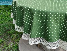 Linen Cotton mixed Round Tablecloth with hand knitting by Mizzapa, $29.00