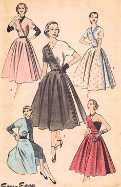 1950s UNIQUE EVENING DRESS PATTERN HALF DRESS STYLE, SEVERAL VERSIONS,VERSITILITY ADVANCE 6238