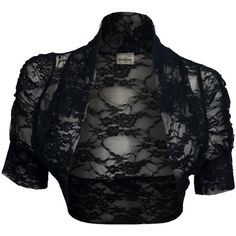 eVogues Plus Size Floral Lace Bolero Shrug Black ($26) ❤ liked on Polyvore featuring outerwear, shrug cardigan, plus size womens shrugs, cardigan shrug, lace shrug and black shrug cardigan