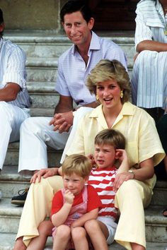 Charles, Prince of Wales, Diana, Princess of Wales, Prince William, and Prince Harry - August 1987 ~  TownandCountryMag.com