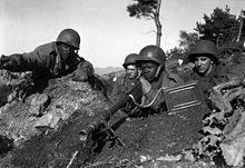 Soldiers from the U.S. 2nd Infantry Division in action near the Ch'ongch'on River, 20 November 1950
