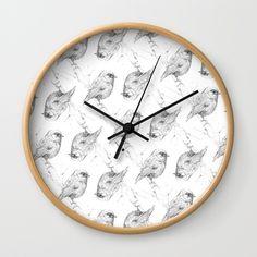 Black Robin bird mosaic Wall Clock