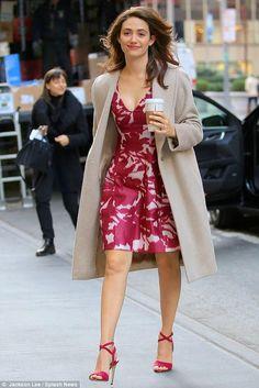Emmy Rossum wearing Paul Andrew Laura Sandals and Prabal Gurung Floral Shadow-Print Silk & Cotton Dress