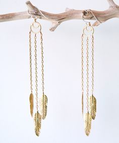Feather Earrings by Artefacts Collection. i could actually wear these, they look really light