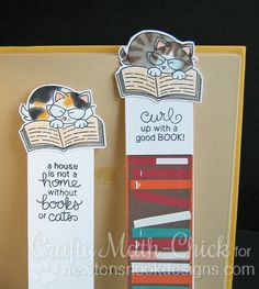 Newton's Book Club Stamp Set by Newton's Nook Designs Creative Bookmarks, Diy Bookmarks, Bookmarks Quotes, Bookmark Craft, Bookmark Ideas, Book Markers, Cat Cards, Scrapbooking, Clear Stamps