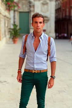 Great combination: shirt + trousers + belt