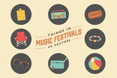 Things in Music Festivals-44 Vectors ~ Illustrations on Creative Market