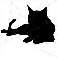 "Silhouette Cat #5 10""(26 cm) Paper Pieced patterns quiltartdesigns.blogspot.com:"