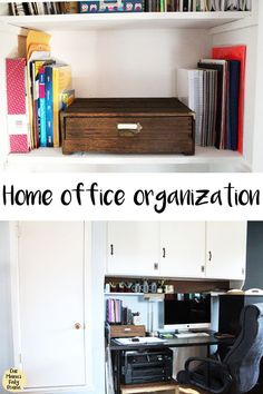 I finally tackled getting my desk and office closet organized once and for all. See the before and after on my home office organization project. Closet Office, Home Office Space, Office Workspace, Closet Desk, Craft Closet Organization, Office Organization At Work, Office Hacks, Office Supply Storage, Organizing Your Home
