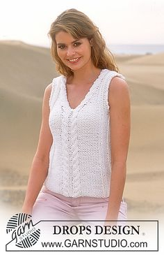Ravelry: 87-9 Sleeveless Top in Ice pattern by DROPS design