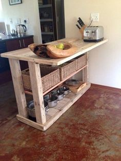Having DIY pallet kitchen furniture will be so adorable since it looks more rustic and unique. One more, it is popular to have pallet furniture now. Diy Kitchen Island, Pallet Kitchen, Kitchen Furniture, Furniture Diy, Pallet Kitchen Island, Home Decor, Home Diy, Diy Kitchen, Kitchen Design