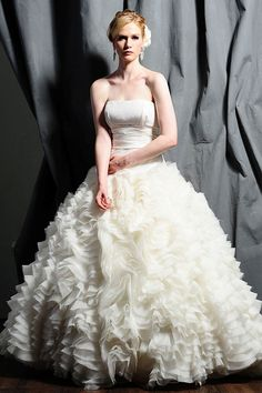 Ball gown floor-length taffeta bridal gown with ruffle embellishment