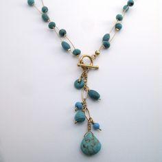 Turquoise Sirena necklace.  I love turquoise with gold! #turquoise #gold #mermaid #jewelry #joyeria #sirena #turkesa #oro