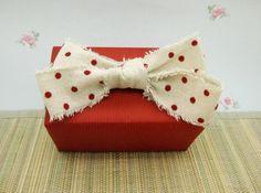 Natural Linen and Red Velvet Polka Dot Shabby Chic Ribbon