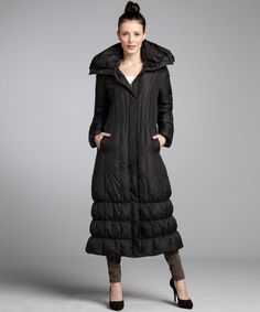 Women's Black Full-length Quilted Puffer Coat | Coats, Clothing ...