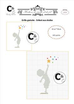 Grille gratuite point de croix - Enfant aux étoiles